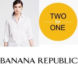 Banana Republic Non Iron Bundle of 2 White Shirts